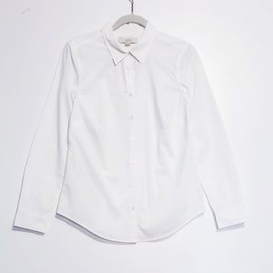 Ann Taylor LOFT Long Sleeve White Button Up Blouse